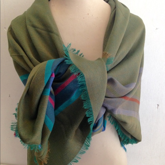 1aec5c28b247e L.L. Bean Accessories | Nwt Plaid Stripe Fringed Blanket Scarf Shawl ...
